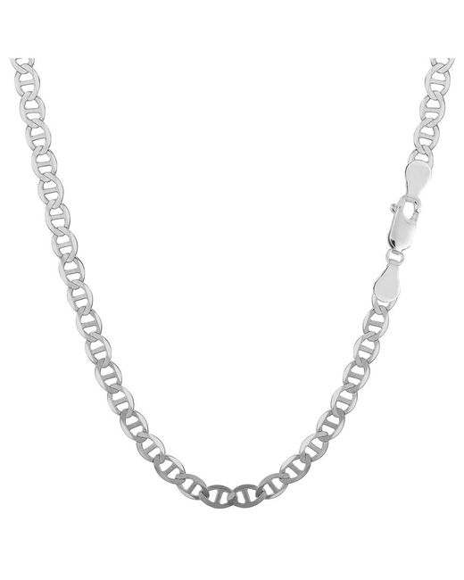 JewelryAffairs - White Sterling Silver Rhodium Plated Flat Mariner Chain Necklace, 3.5mm, 18 - Lyst