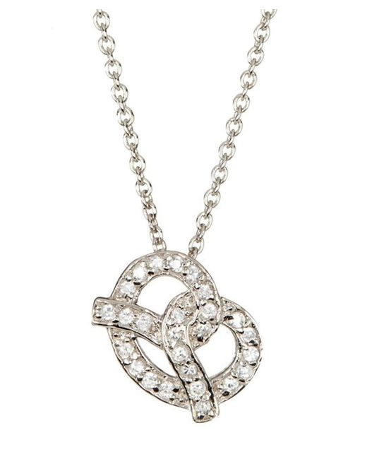 Adornia - Metallic Pretzel Necklace Silver Swarovski Crystal - Lyst
