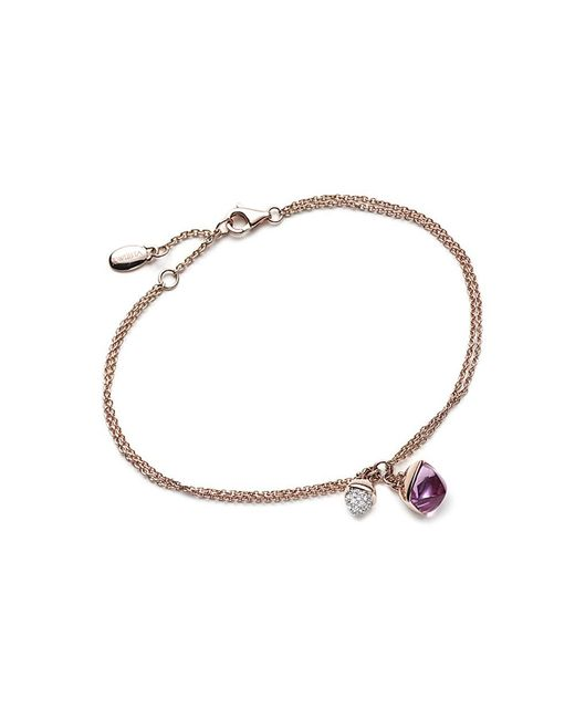 Jewelista - Pink Diamond And Amethyst Charm Bracelet In 14k Rose Gold - Lyst