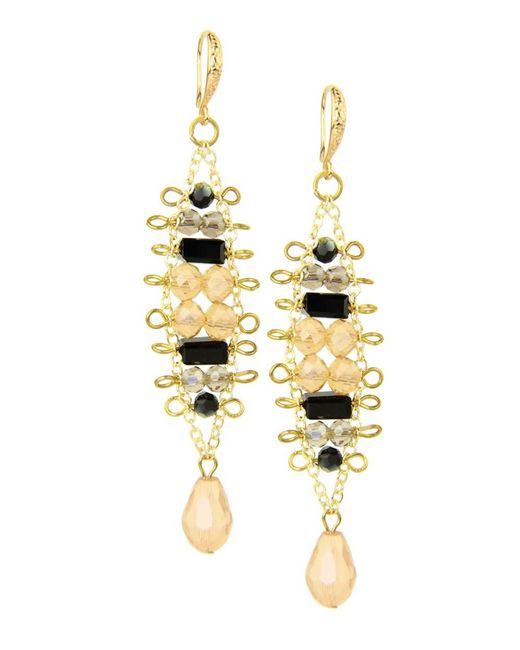 Saachi | Metallic Black Champagne Beaded Earing | Lyst