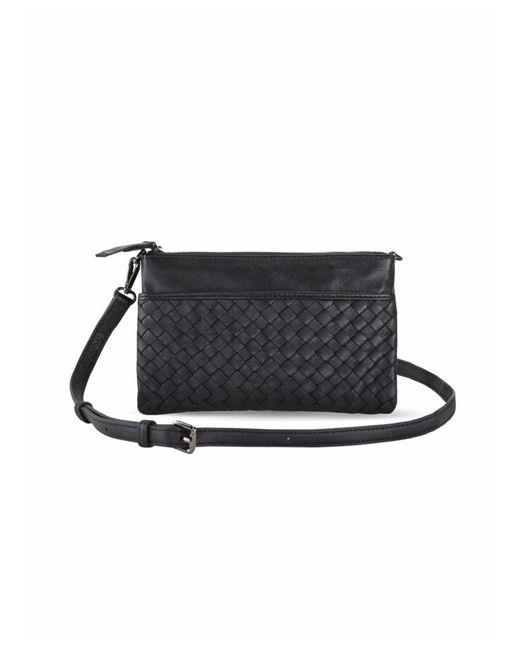 88c16f83df77 Mofe - Black Sonder Woven Leather Convertible Crossbody Wallet And Clutch  With Adjustable Strap - Lyst ...