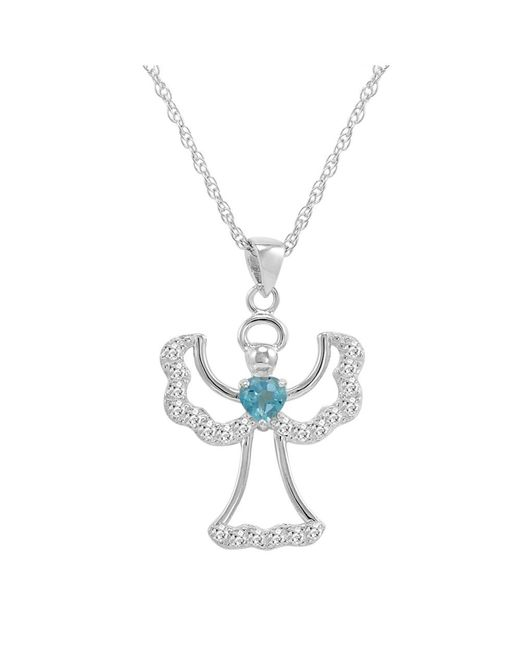 Amanda Rose Collection - Amethyst Or Blue Topaz With White Topaz Angel Pendant-necklace In Sterling Silver - Lyst
