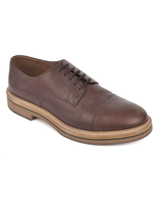 Brunello Cucinelli - Brown Polished Leather Lace Up Derby Shoes for Men - Lyst