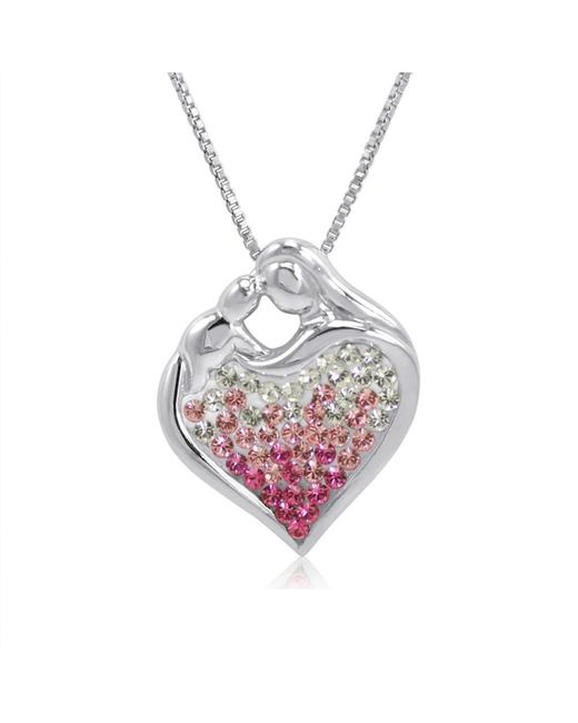 Amanda Rose Collection - Metallic Sterling Silver Pink Ombre Crystal Mom And Child Heart Pendant With Swarovski Elements - Lyst