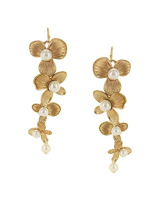 Sparkling Sage - Metallic 14k Plated Resin Floral Drop Earrings - Lyst