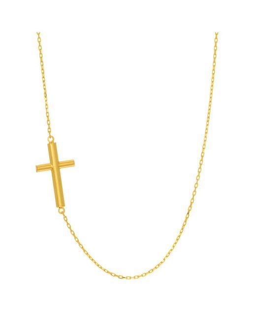JewelryAffairs - 14k Yellow Gold Sideways Tube Cross Pendant Necklace, 18 - Lyst