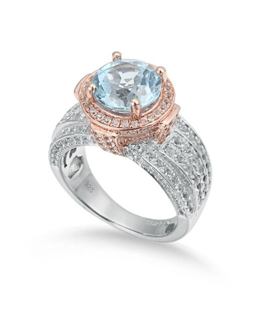 Suzy Levian - Metallic Two-tone Sterling Silver Round 5.71 Cttw Blue Topaz Ring - Lyst