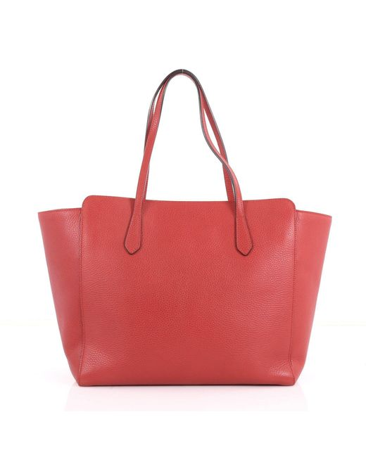 0216fadebe75ee ... Gucci - Red Pre Owned Swing Tote Leather Medium - Lyst ...