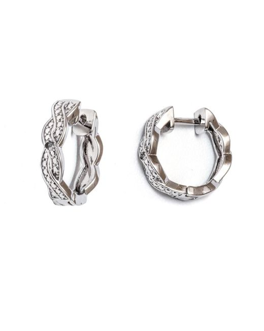 Peermont - Metallic 18k White Gold Plated Braid Huggie Earrings With Swarovski Elements - Lyst