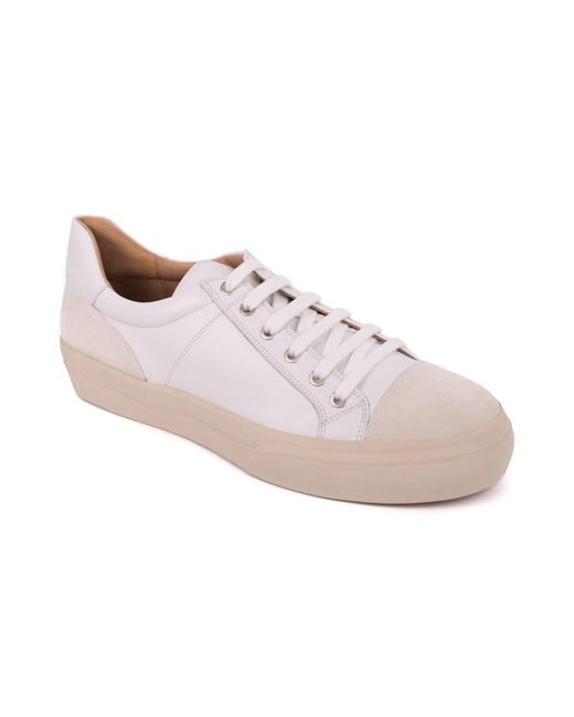 Dries Van Noten - White Leather Low Top Suede Cap Toe Sneakers for Men - Lyst