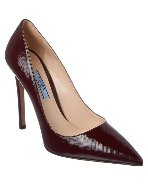 Prada | Red Saffiano Patent Pointy-toe Pump | Lyst