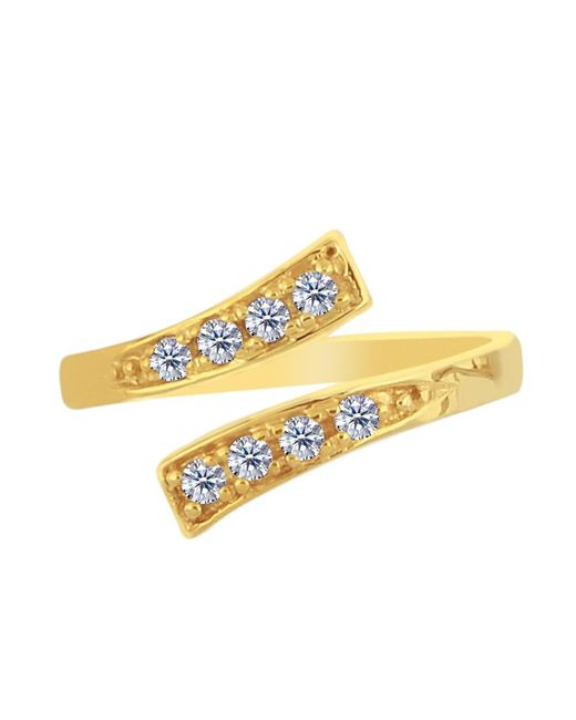 JewelryAffairs - 14k Yellow Gold Crossover With Cz Stones By Pass Style Adjustable Toe Ring - Lyst