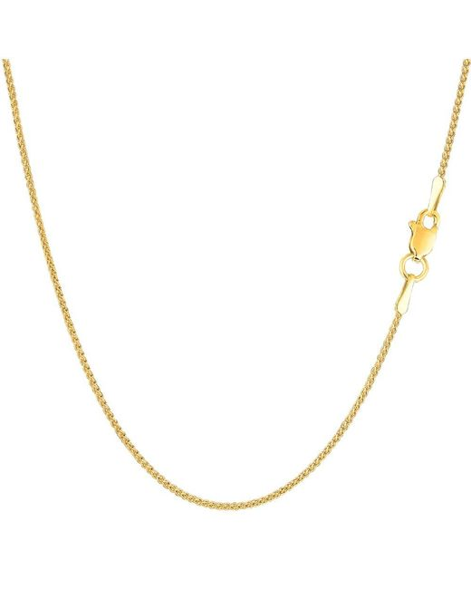 JewelryAffairs | 14k Yellow Gold Round Wheat Chain Necklace, 1.15mm, 24 Inch | Lyst