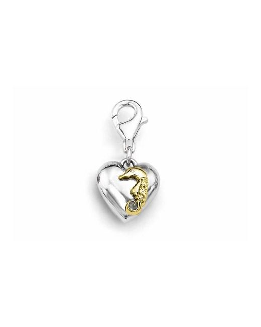 Tia Collections - 0.03ctw Diamond -yellow Gold Seahorse On A White Gold Puffed Heart Pendant - Lyst