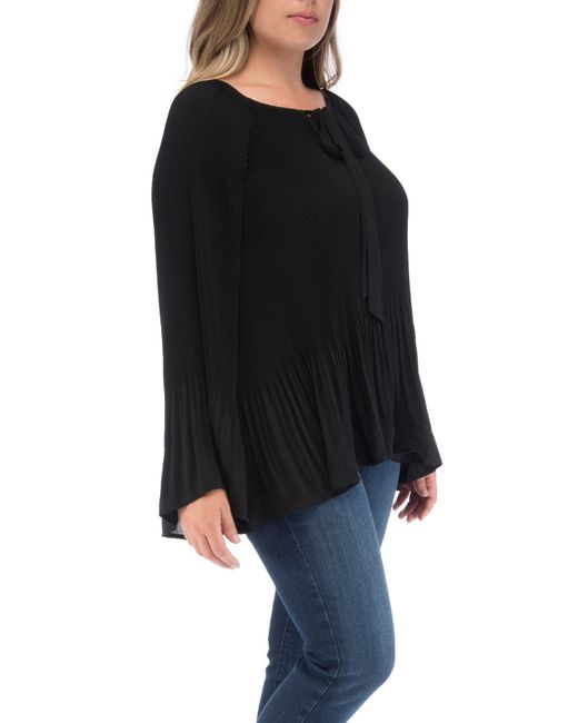 d1d50d96696 ... Bobeau - Black Ivanna Plus Size Pleated Tie Neck Top - Lyst ...