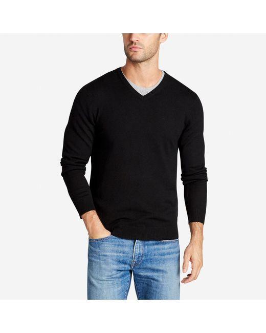 Bonobos Merino V-neck Sweater in Black for Men | Lyst