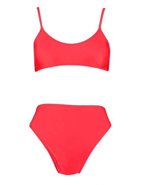 5e7cfb3c71aa1 ... Boohoo - Red Petite Strappy High Waisted Bikini - Lyst