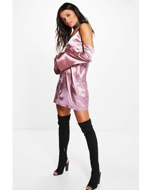 Boohoo | Pink Vera Cold Shoulder Satin Slip Shift Dress | Lyst