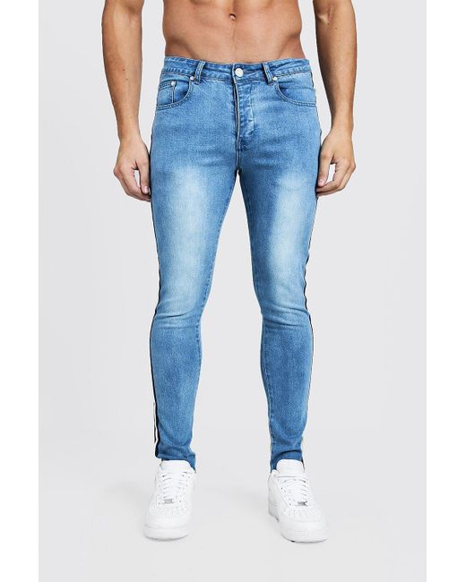 3e26a95deb669 Boohoo - Blue Super Skinny Jeans With Side Tape for Men - Lyst ...