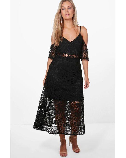 4c5e95240b0 Boohoo - Black Plus Crochet Lace Premium Skater Dress - Lyst ...
