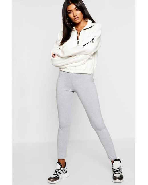 a9a306ee055498 Lyst - Boohoo Basic Jersey Leggings in Gray - Save 58.333333333333336%