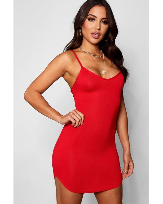 Boohoo - Red Strappy Curved Hem Bodycon Dress - Lyst
