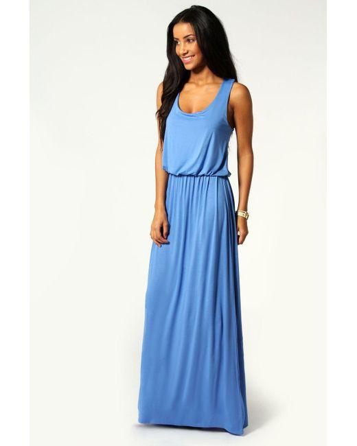 Boohoo - Blue Racer Back Maxi Dress - Lyst