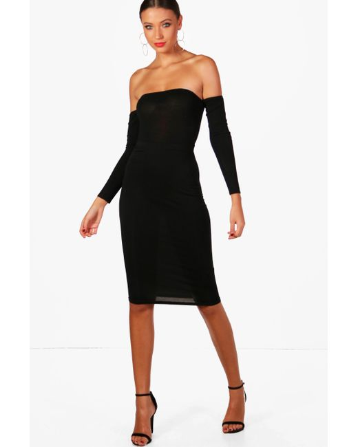 Boohoo - Natural Tall Basic Jersey Midi Tube Skirt - Lyst