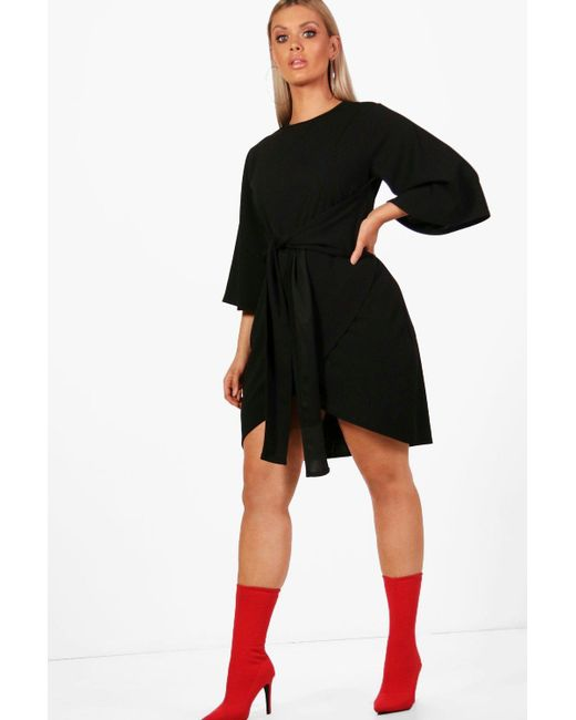 Boohoo - Black Plus Kimono Sleeve Tie Waist Wrap Dress - Lyst
