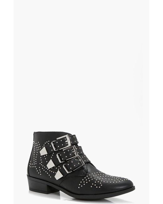 Boohoo   Black Lara Pin Stud And Buckle Strap Ankle Boot   Lyst