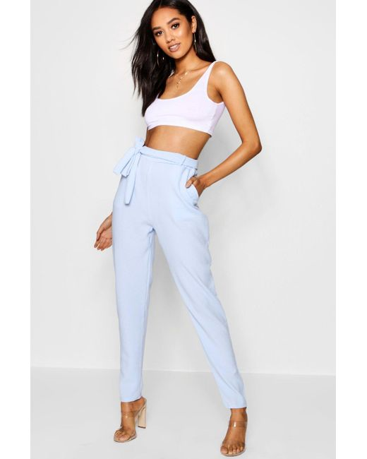 9df6366800a287 Boohoo - Blue Petite Tie Waist Tapered Trouser - Lyst ...