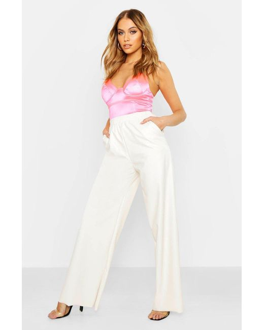 6a3a5fafbefe Boohoo - White Leather Look Wide Leg Trousers - Lyst ...