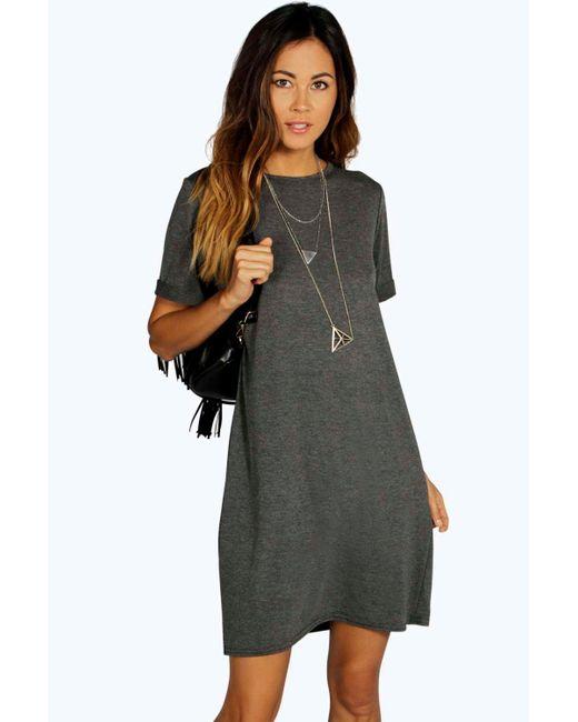 Boohoo - Gray Sinitta Turn Back Cuff Shift Dress - Lyst