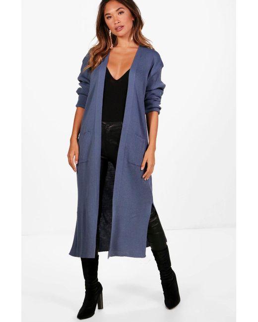 Boohoo Amanda Half Rib Sleeve Maxi Cardigan in Blue | Lyst