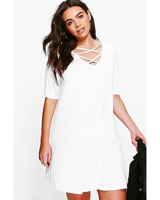 Boohoo - White Plus Cross Front Swing Dress - Lyst
