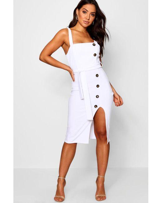 40e5a51586ce Boohoo - White Button Detail Square Neck Midi Dress - Lyst ...