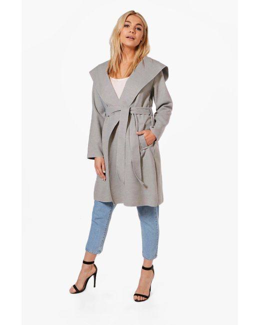 Boohoo | Gray Grace Hooded Belted Wool Coat | Lyst