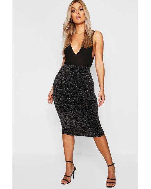 Boohoo - Metallic Plus Shimmer Midi Skirt - Lyst