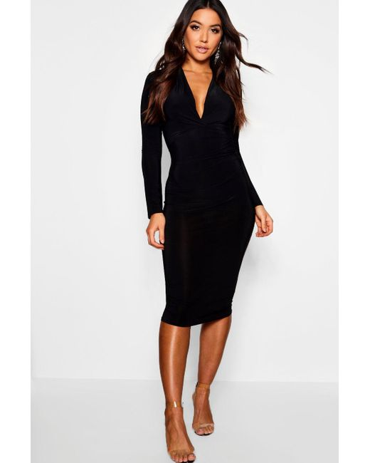 19d75b7bd693 Boohoo - Black Slinky Plunge Neck Long Sleeve Midi Dress - Lyst ...