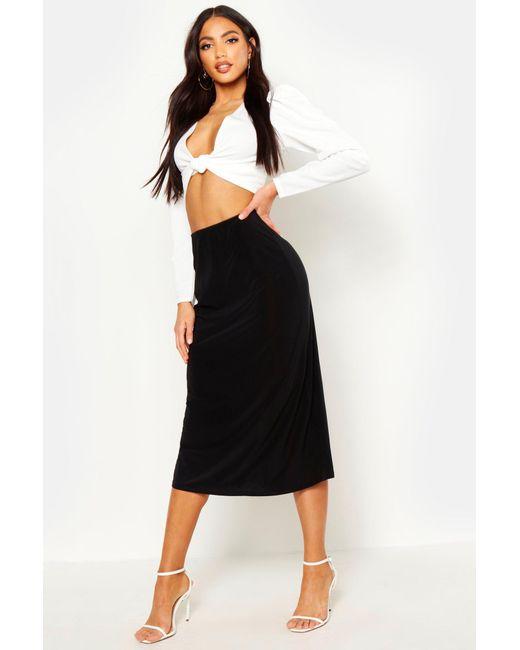 b20a0cfd0 Boohoo - Black Slinky Bias Cut Midi Skirt - Lyst ...