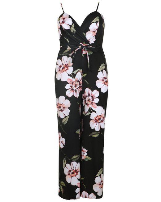 da3bfac9d31 ... Boohoo - Black Plus Daisy Floral Plunge Scuba Wrap Jumpsuit - Lyst ...