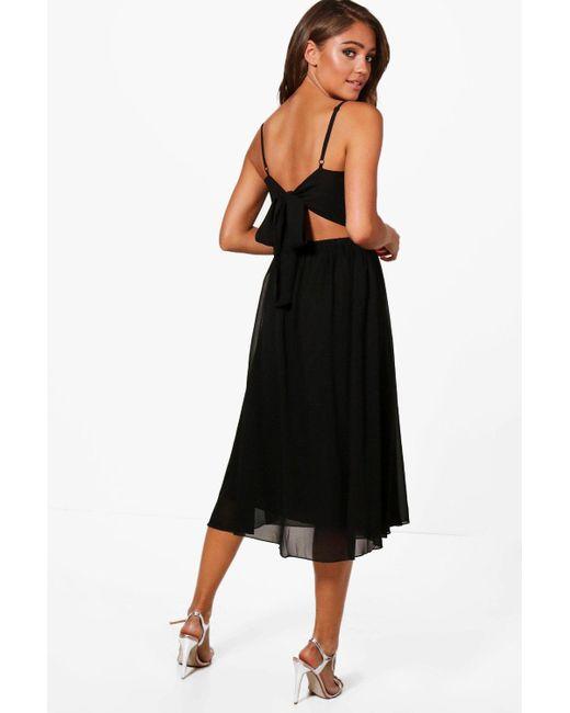 b8ffa9f696e8 Boohoo - Black Chiffon Tie Back Midi Skater Dress - Lyst ...