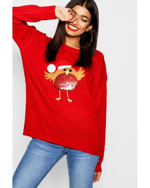 6a565d1dca801 ... Boohoo - Red Applique Jumper With Pompom And Sequin - Lyst