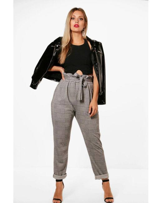 5df3418af214 Boohoo - Black Plus Check Paperbag Tapered Pants - Lyst ...