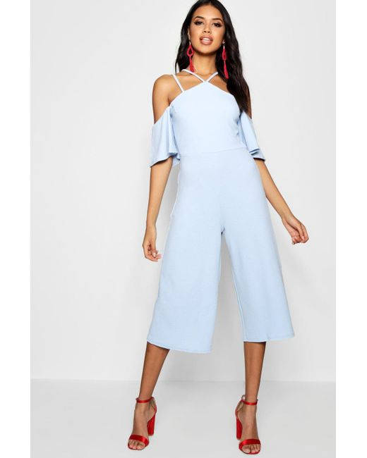5a1f018816db Boohoo - Blue Open Shoulder Culotte Jumpsuit - Lyst ...