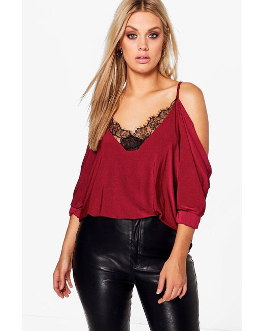 Boohoo - Red Plus Dani Lace Trim V Neck Cold Shoulder Top - Lyst