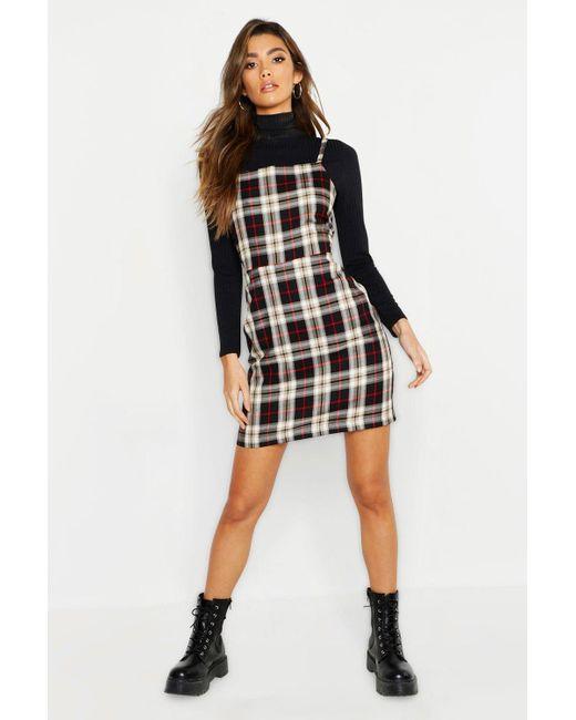 8d95287642000 Boohoo - Black Tartan Square Neck Woven Pinafore Dress - Lyst ...