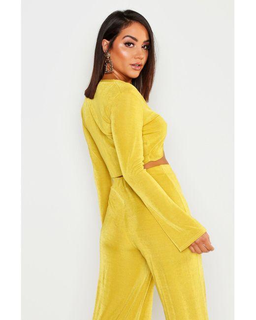 7a6720e4f ... Boohoo - Multicolor Tie Front Long Sleeve Crop Top - Lyst