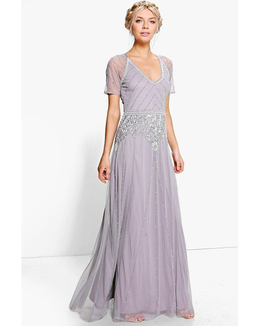 Boohoo - Gray Boutique Beaded Cap Sleeve Maxi Dress - Lyst