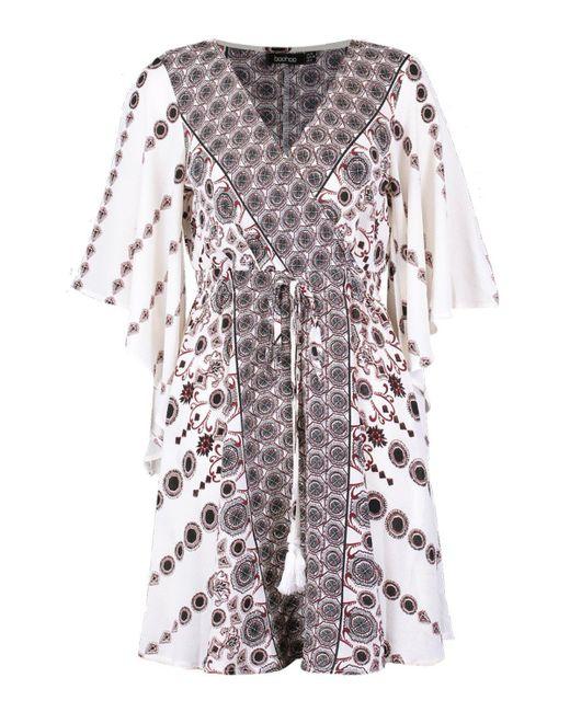 eaa0f32c4a760 ... Boohoo - White Kimono Sleeve Bohemian Wrap Skater Dress - Lyst